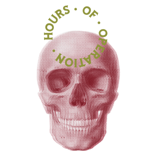 Lado a Lado hours of operation shown in circle over a pink human skull