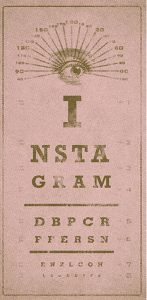 Pink eye exam chart with letters that spell Instagram